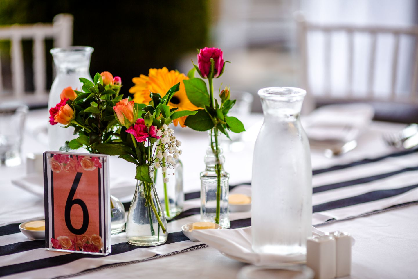 A table decorated and ready for people at The Mon Komo Melbourne Cup event day.