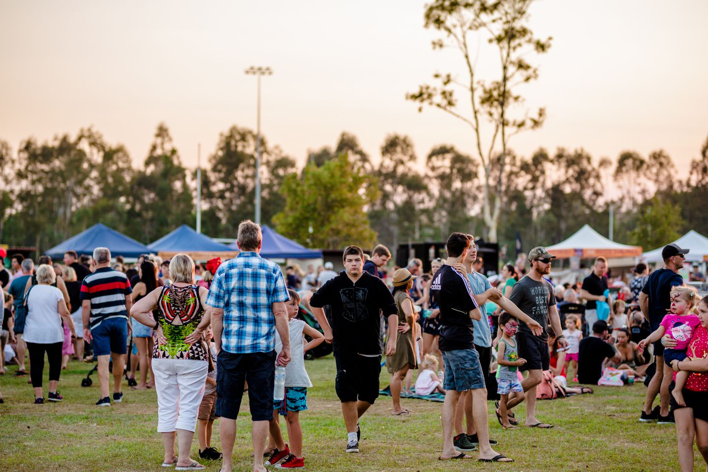 People having fun as they wait for fireworks and entertainment at the Burpengary Christmas Spectacular.
