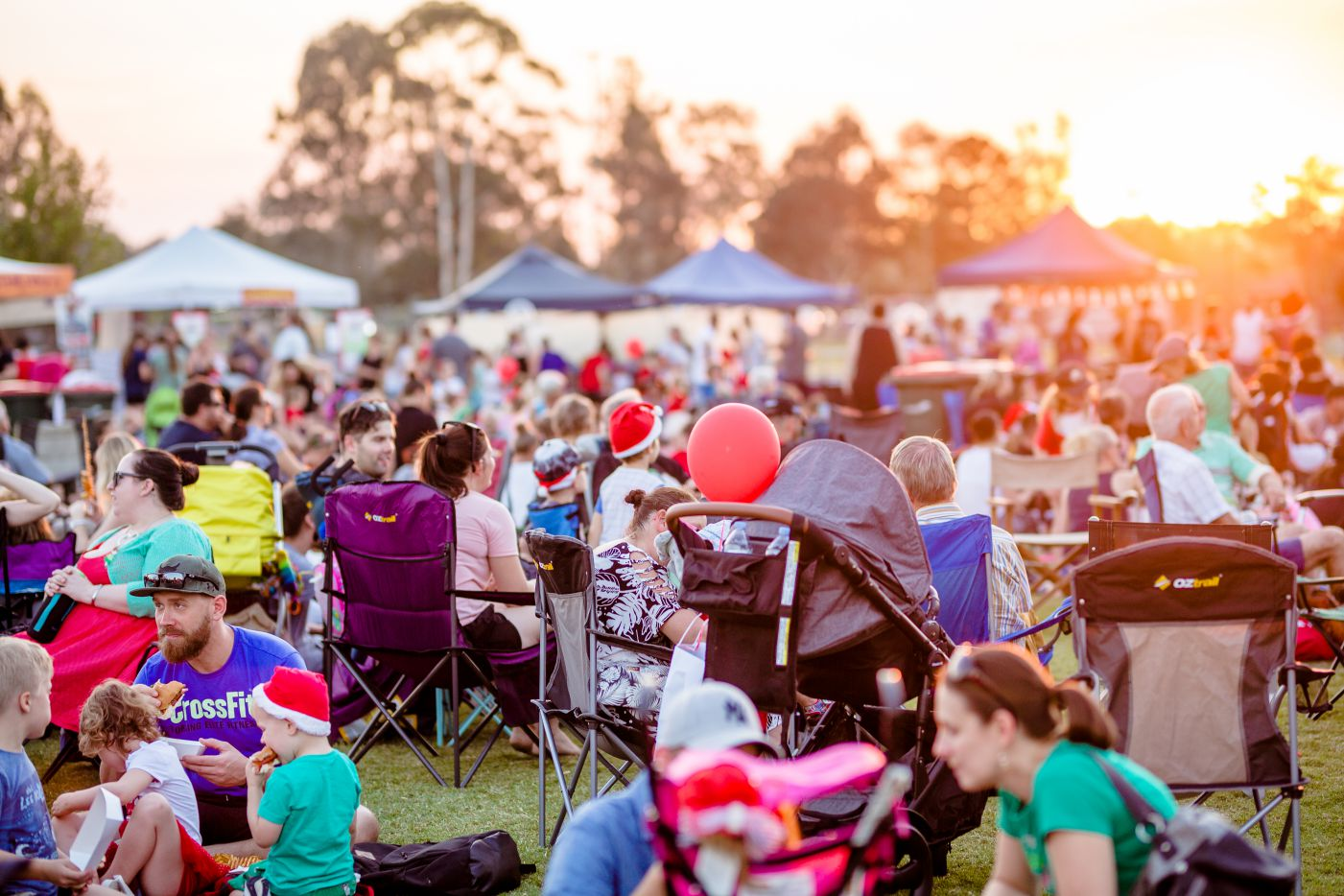 A group of people getting ready for fireworks at the Burpengary Christmas Spectacular.