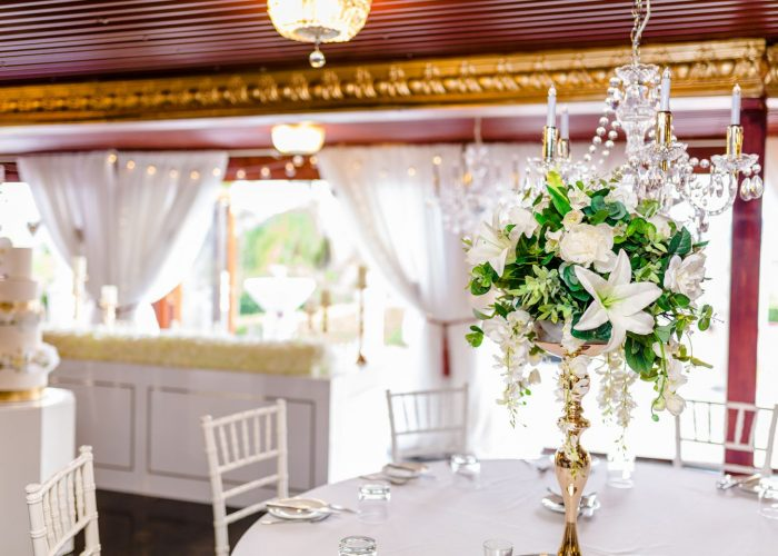 Beautiful white and gold decorations at a wedding near Mount Mee.